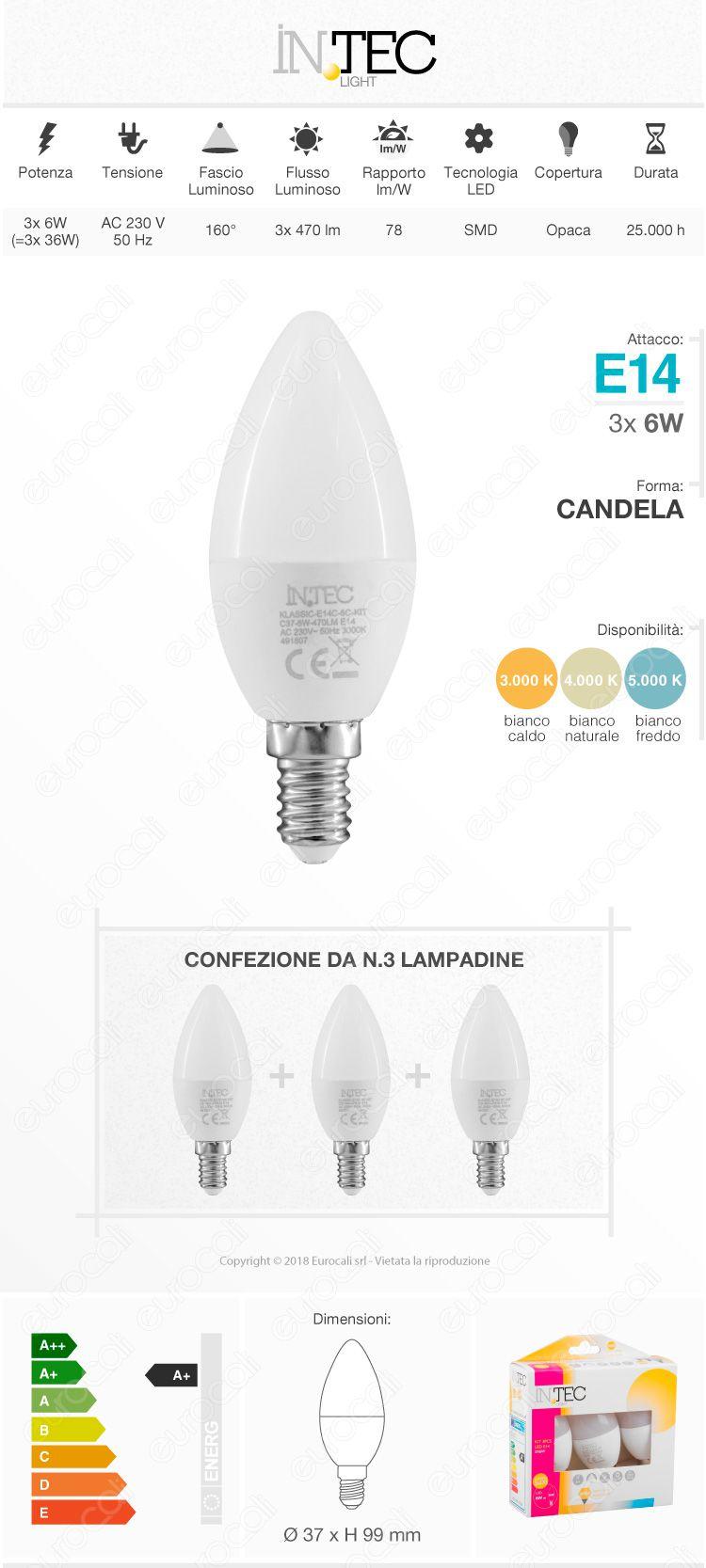 Confezione Risparmio 3 Lampadine LED E14 6W Candela Fan Europe Intec Light C