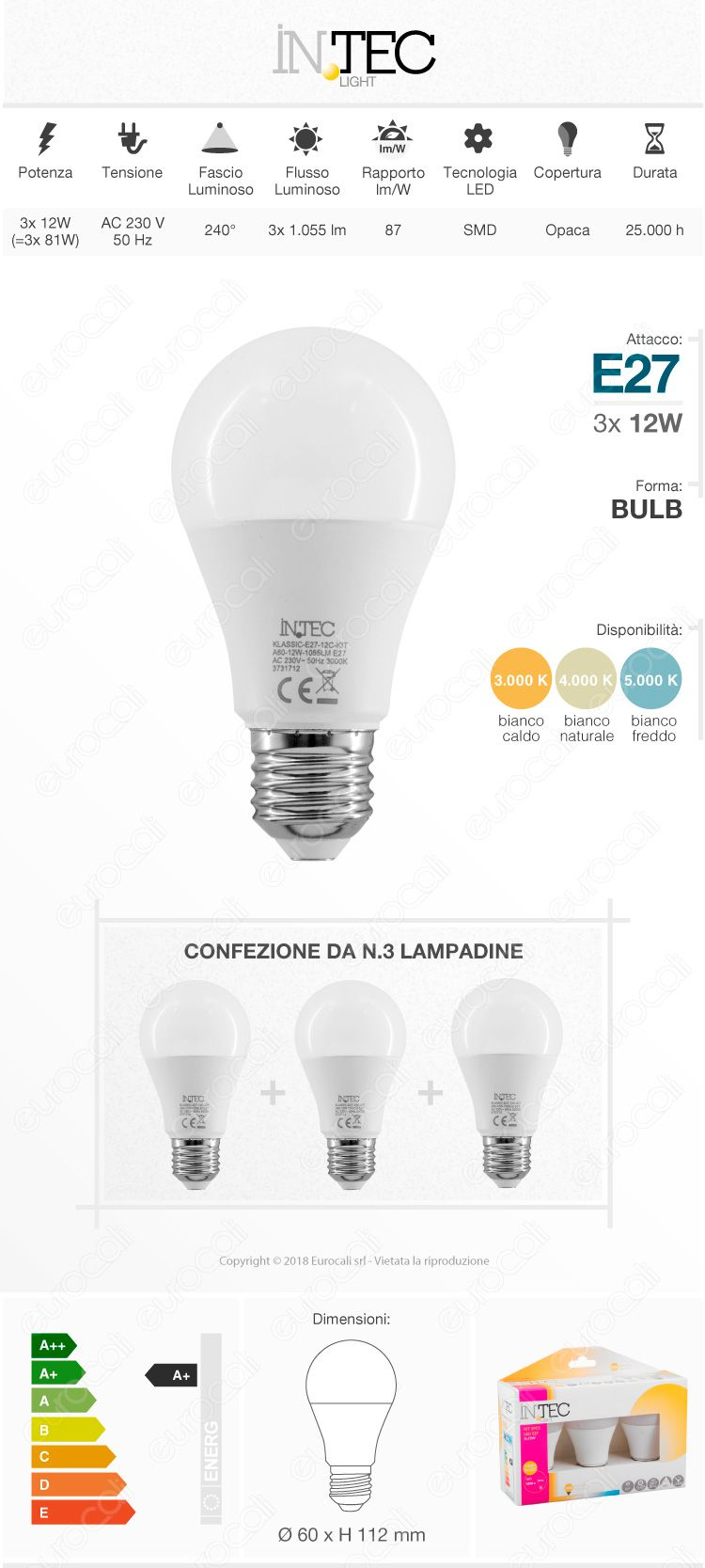 3 Lampadine LED E27 12W Bulb A60 Fan Europe Intec Light Confezione Risparmio