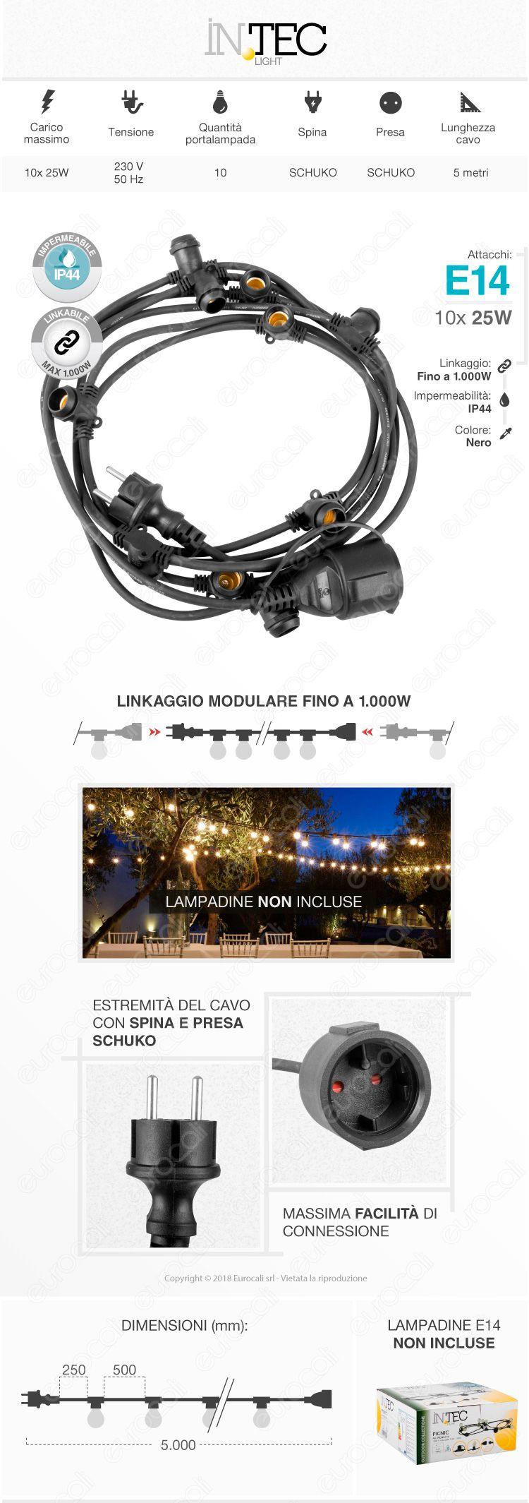 Fan Europe Intec Light Catenaria 5 metri per 10 Lampadine LED E14 per Esterno