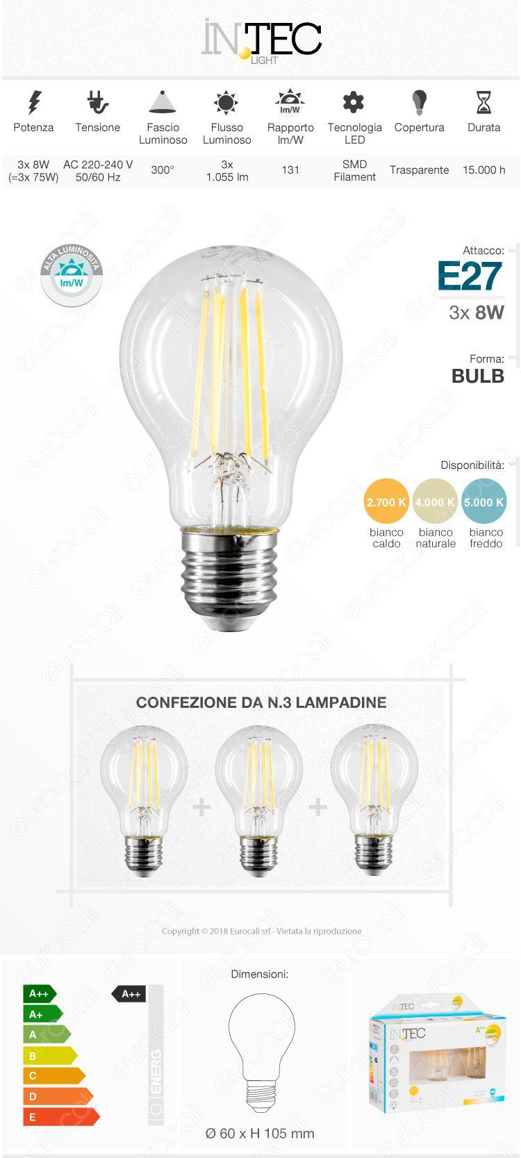 3 Lampadine LED E27 12W Bulb A60 Fan Europe Intec Light Confezione Risparmio