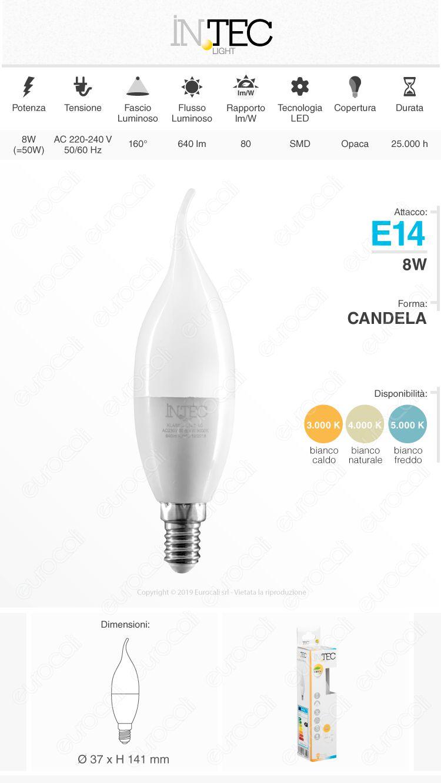 Fan Europe Intec Light Lampadina LED E14 8W Candela Fiamma