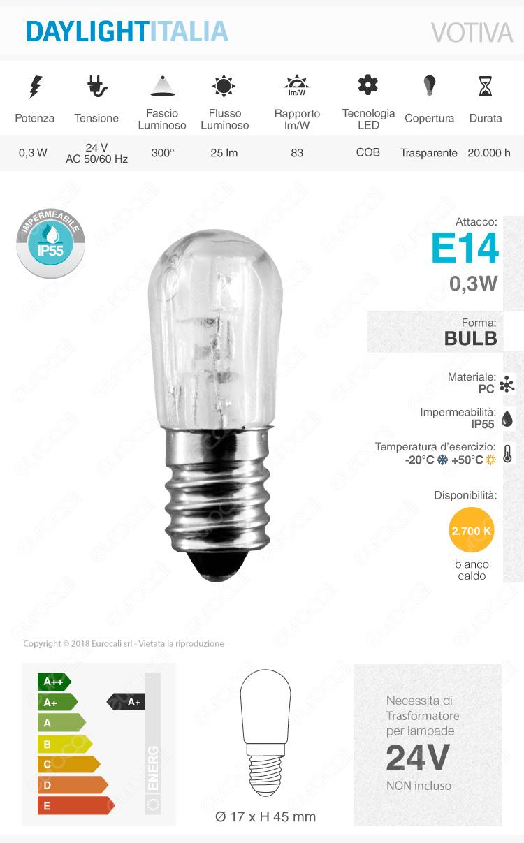 Lampadina Votiva Led E14 0 3w Bulb Luce Calda 24v Daylight