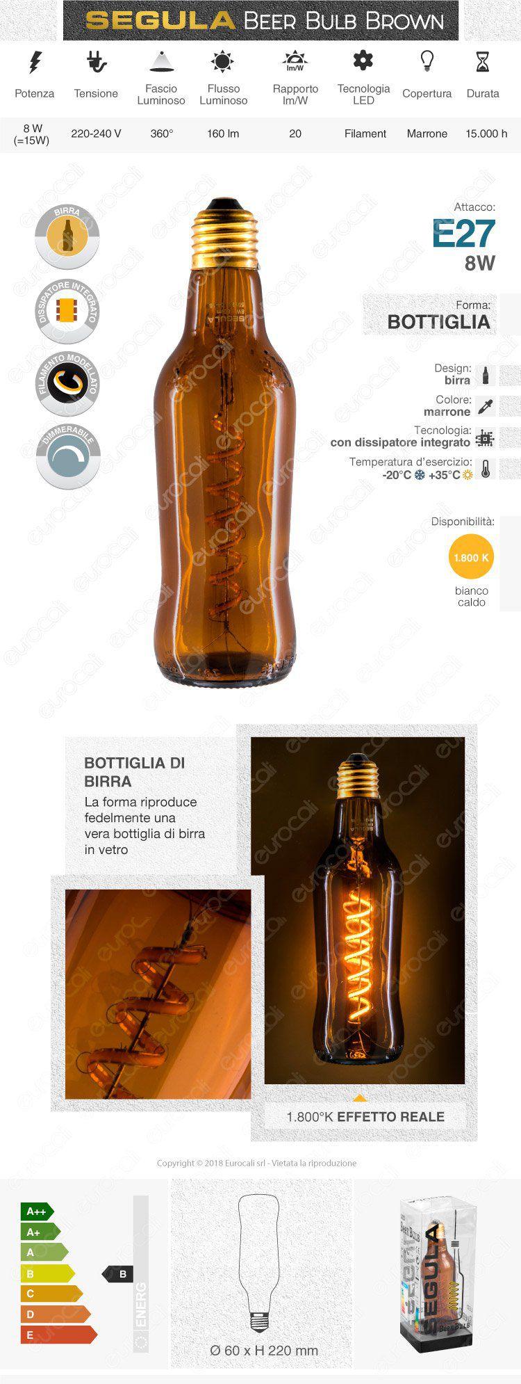 Segula Design Line Lampadina E27 Filamento LED Modellato 8W Forma Bottiglia Dimmerabile