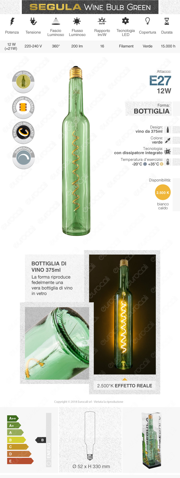 lampada led e27 segula forma bottiglia 12W