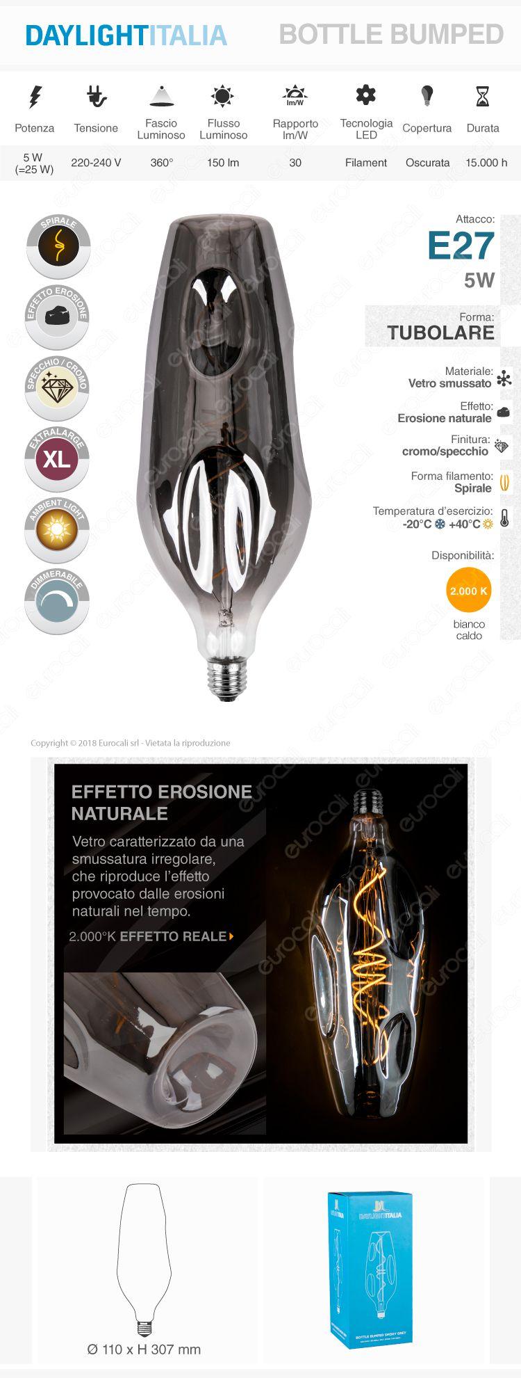 Daylight Lampadina E27 Filamento LED a Spirale 5W Bulb Effetto Erosione Naturale Oscurata Dimmerabile