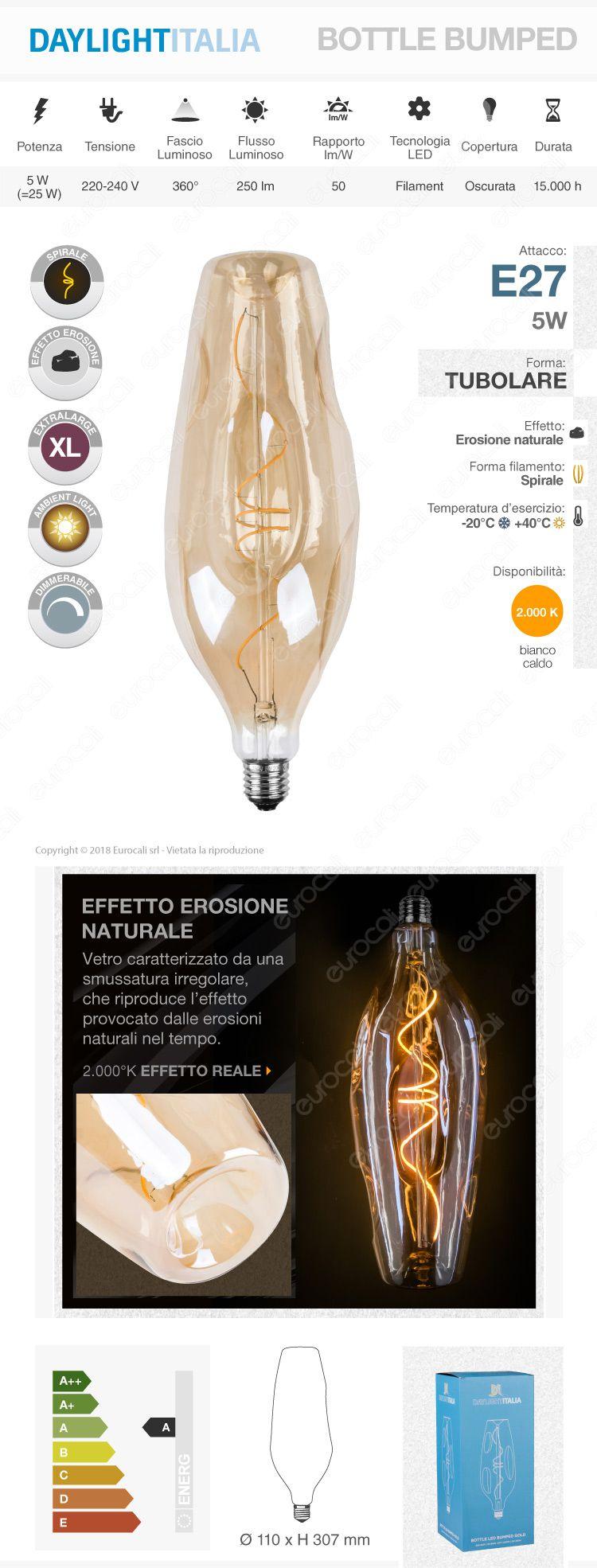 Daylight Lampadina E27 Filamento LED a Spirale 5W Bulb Effetto Erosione Naturale Dimmerabile
