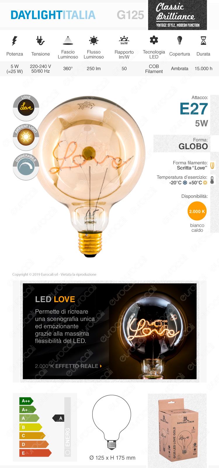 Daylight Lampadina E27 Filamento LED Scritta Love Cuore 5W Globo G125 Vetro Ambrato Dimmerabile - mod. 700232.0DA