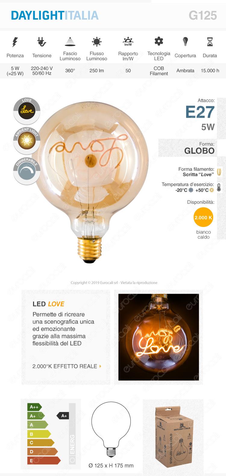 Daylight Lampadina E27 Filamento LED Scritta Love Cuore 5W Globo G125 Vetro Ambrato Dimmerabile