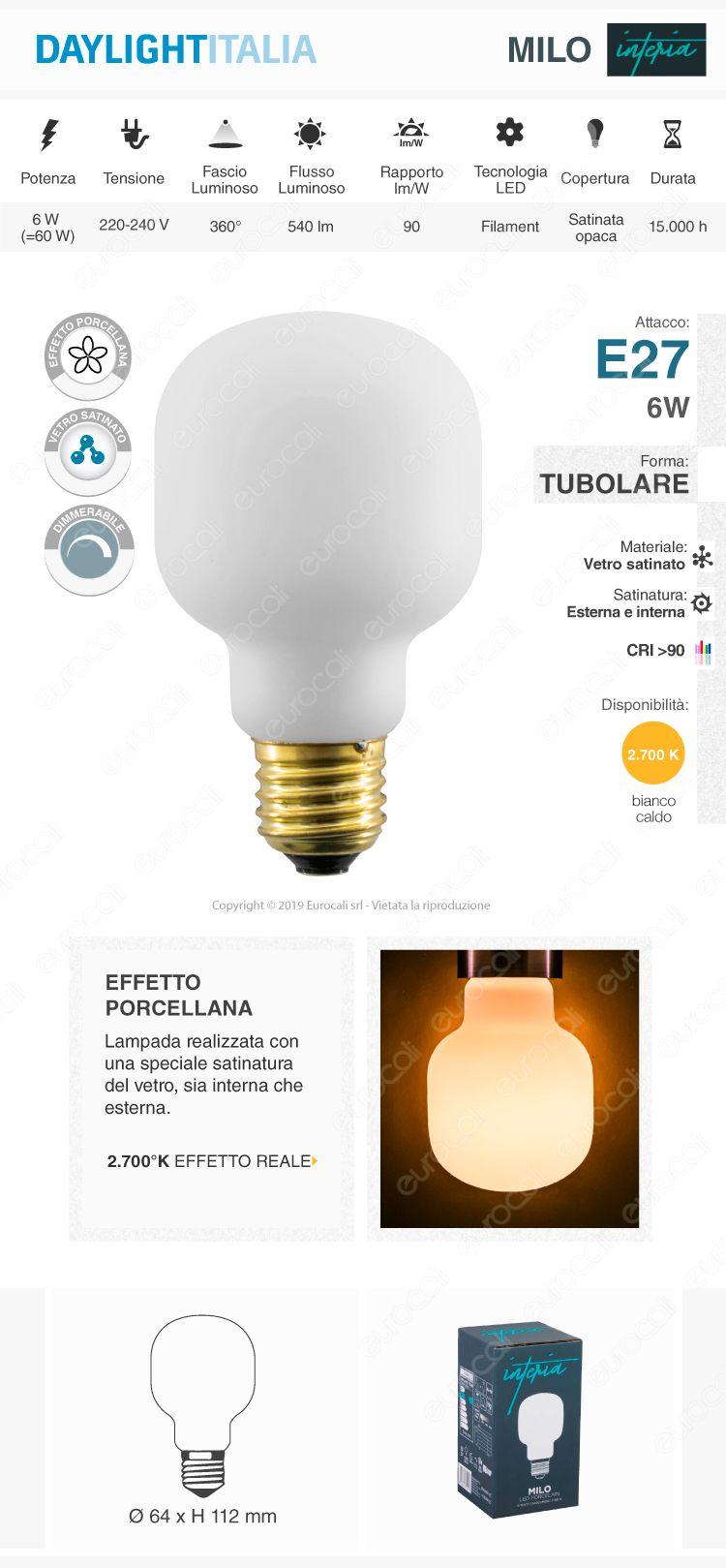 Daylight MILO Lampadina E27 Filamento LED 6W Tubolare Effetto Porcellana Dimmerabile CRI≥90