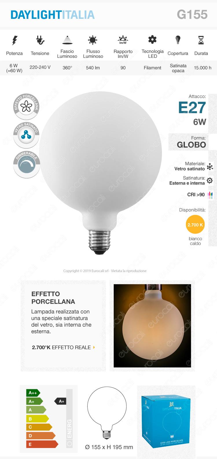 Daylight Lampadina E27 Filamento LED 6W Globo G155 Effetto Porcellana Dimmerabile CRI≥90
