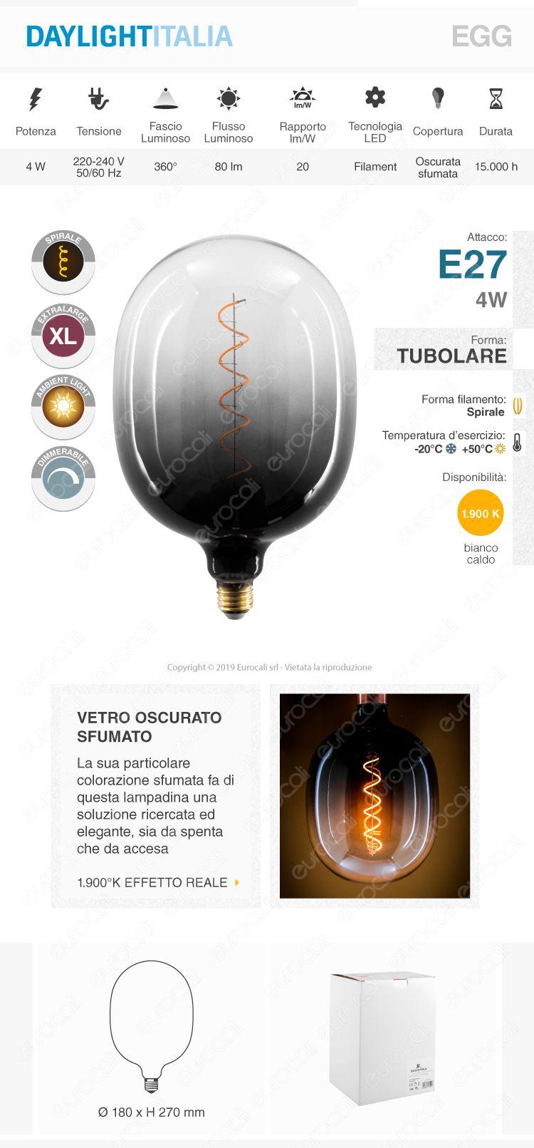 Daylight Lampadina E27 Filamento LED a Spirale 4W Tubolare XL con Vetro Nero Sfumato Dimmerabile
