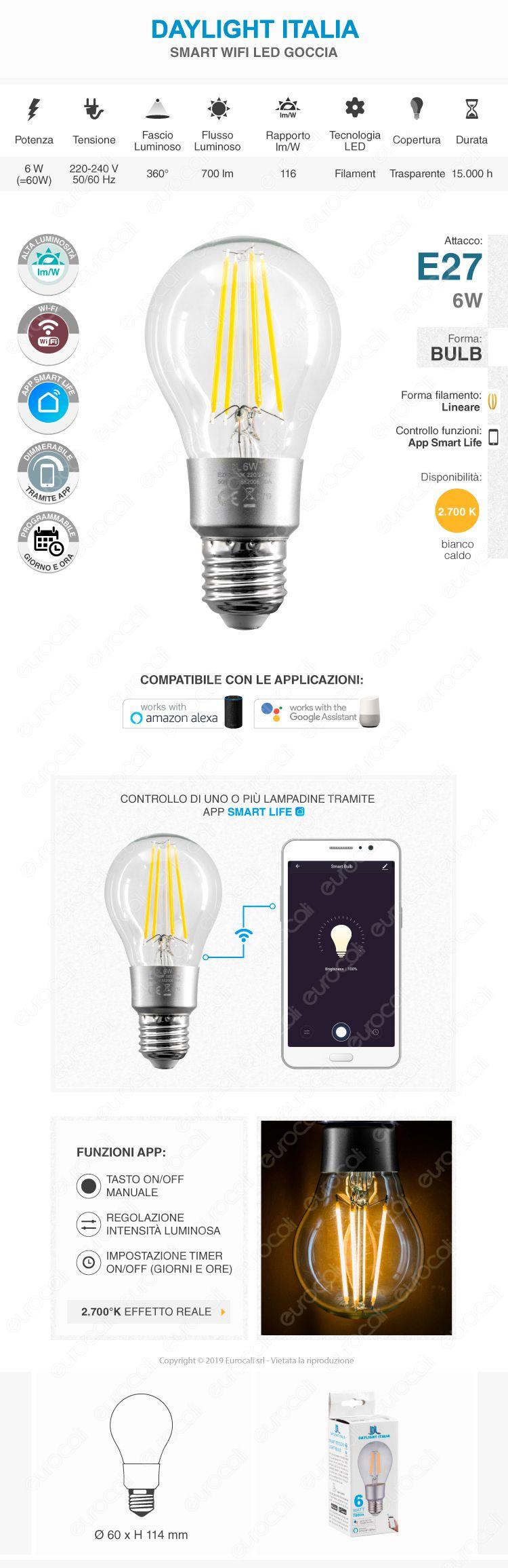 Daylight Italia Lampadina LED Wi-Fi E27 6W Bulb A60 Dimmerabile