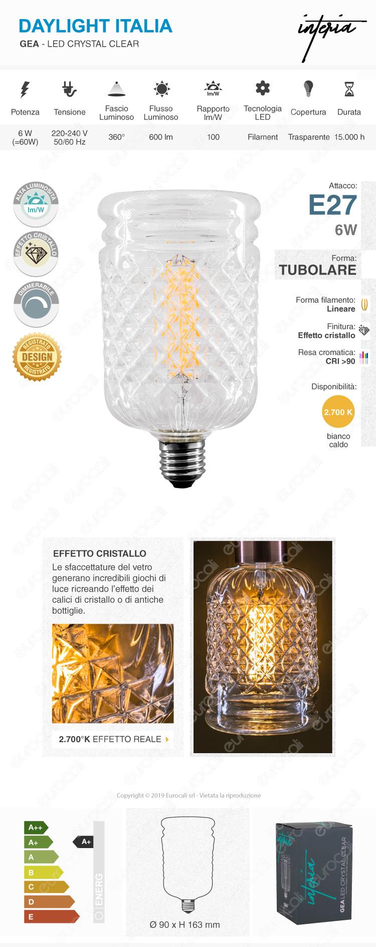 Daylight GEA Lampadina E27 Filamento LED 6W Tubolare Effetto Cristallo Dimmerabile CRI≥90