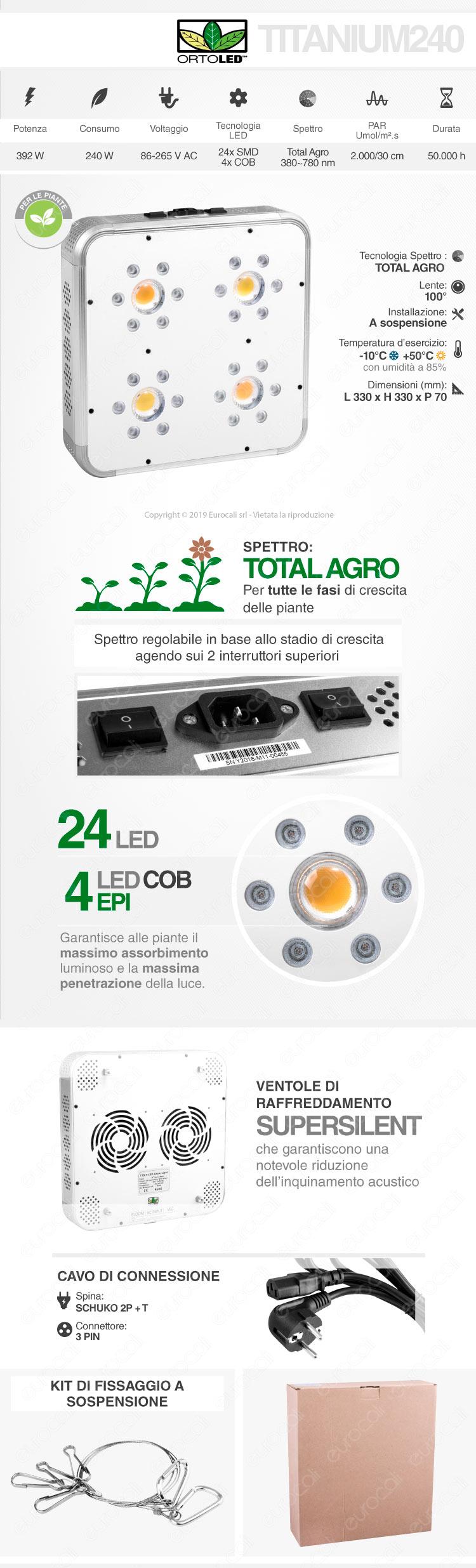 Ortoled Titanium Total Agro Lampada LED 392W per Coltivazione Indoor Consumo Reale 240W