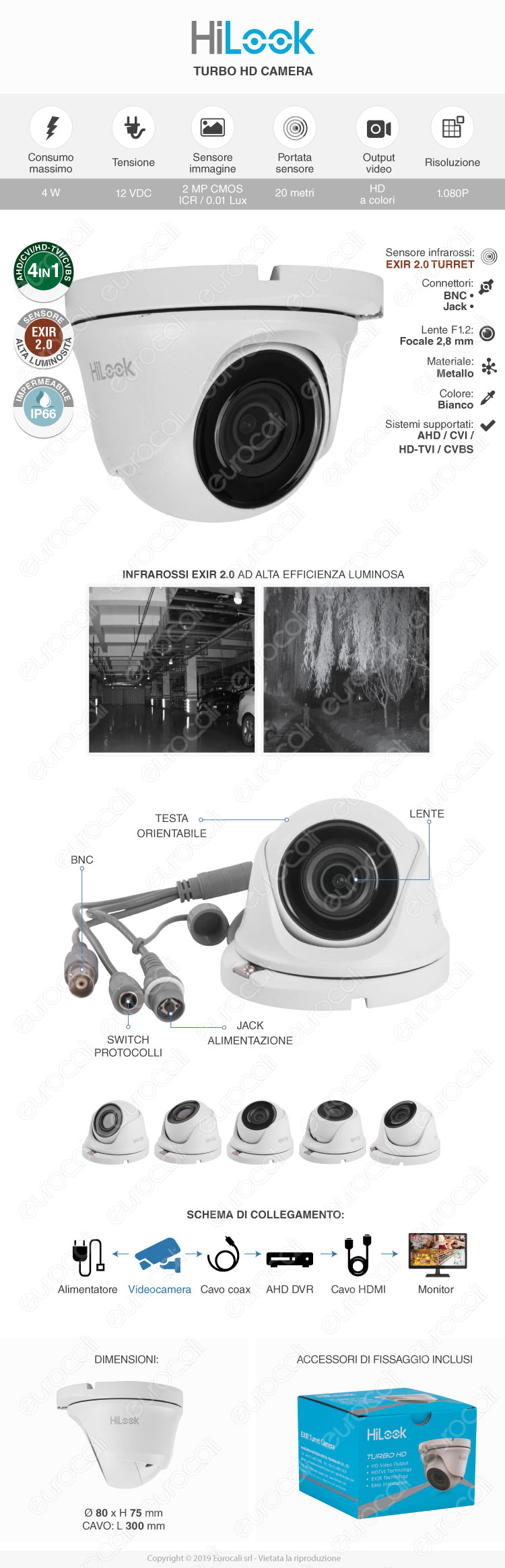HiLook Telecamera di Sorveglianza 1080p IP66