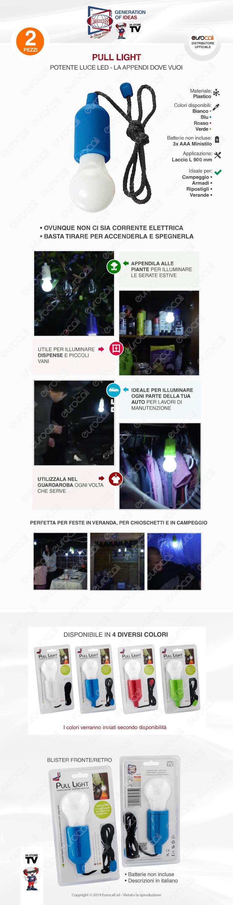 Kit 2 Intergross Pull Light Lampadina LED Senza Fili a Batteria da Appendere