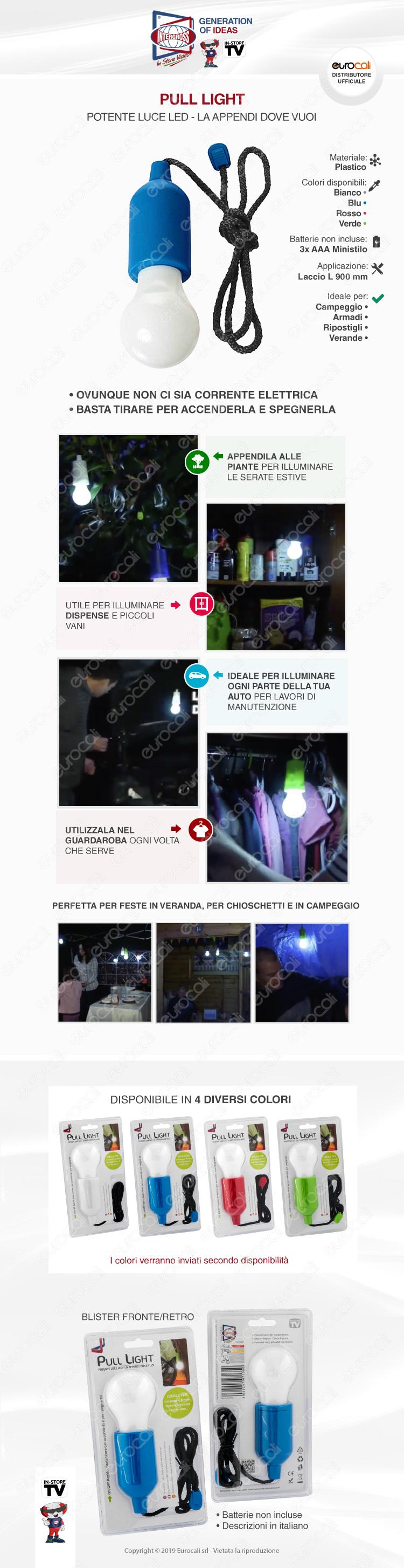Intergross Pull Light Lampadina LED Senza Fili a Batteria da Appendere