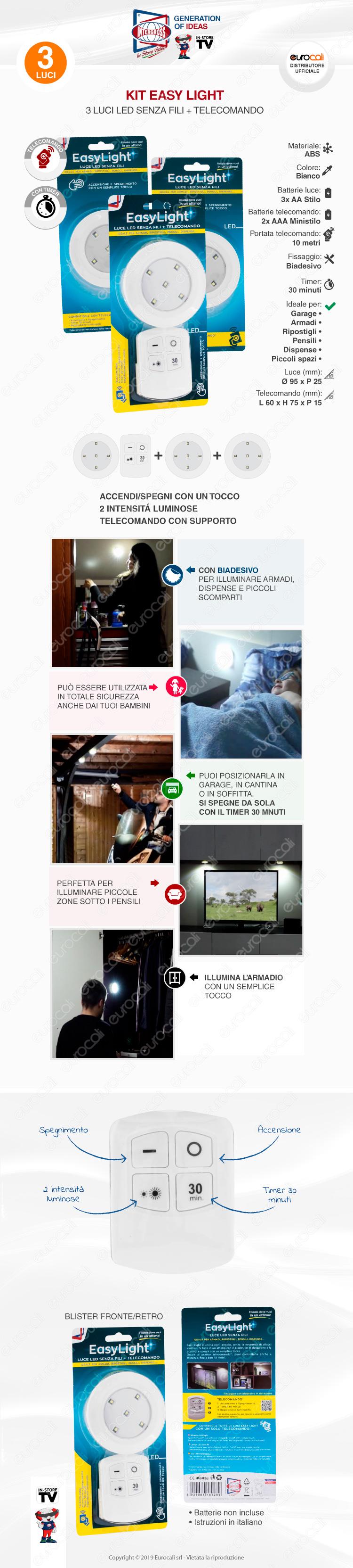 Accensione Lampadario Con Telecomando acquista kit 3 intergross easy light luce led senza fili