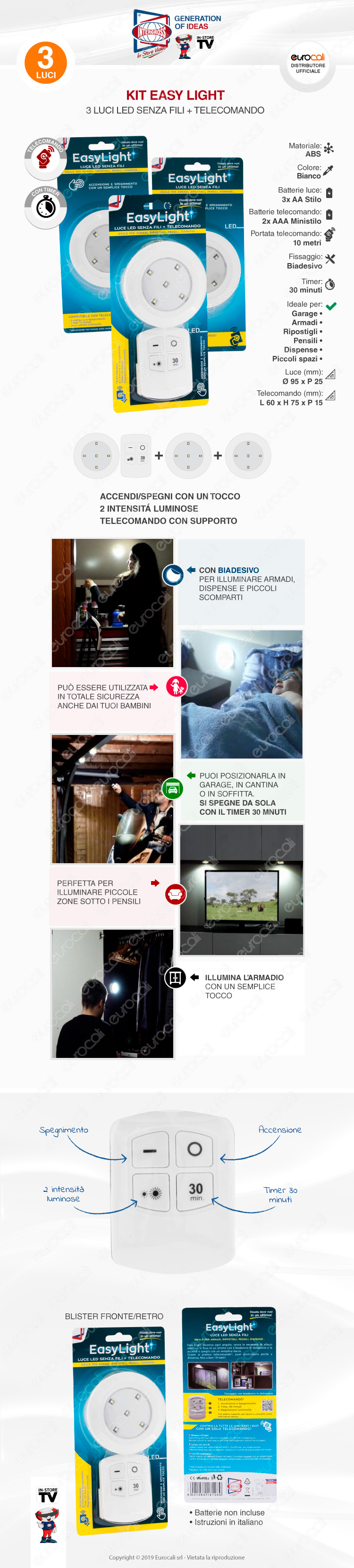 kit 3 intergross Easy Light luce LED senza fili a batteria CON TELECOMANDO