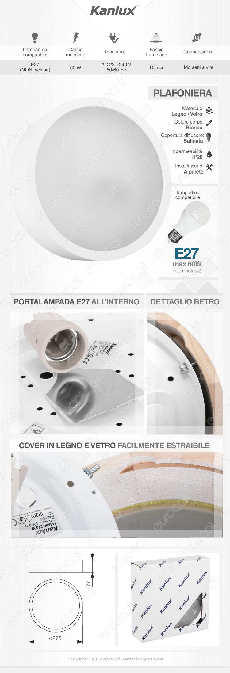 Plafoniera portalampada e27