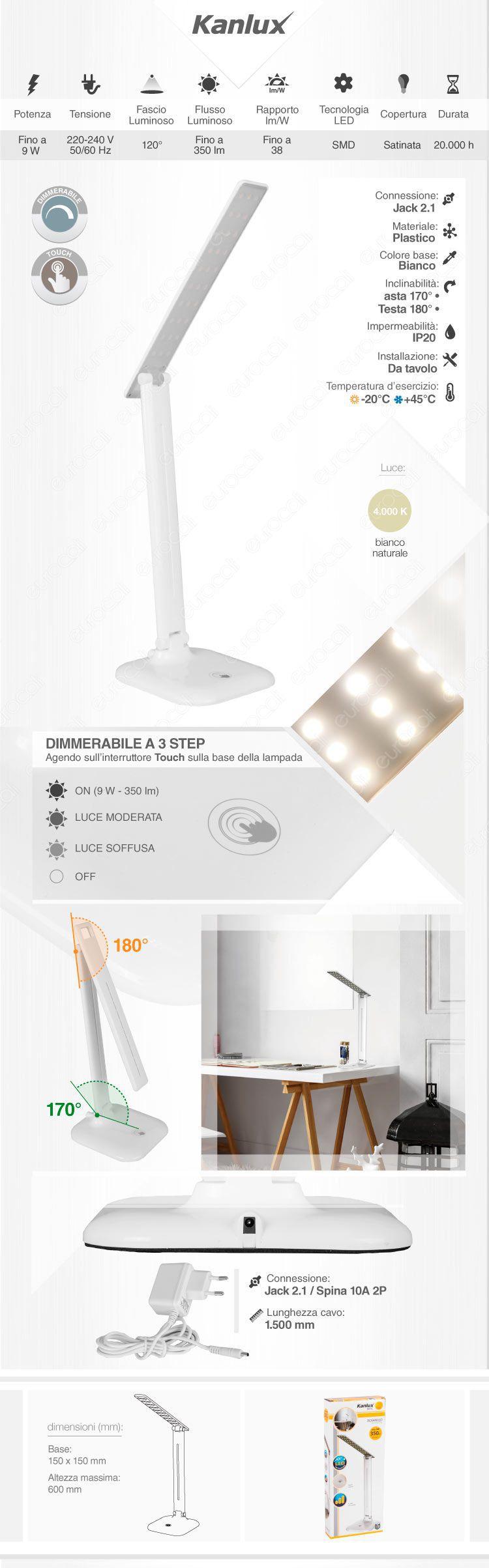Lampada da tavolo LED Kanlux