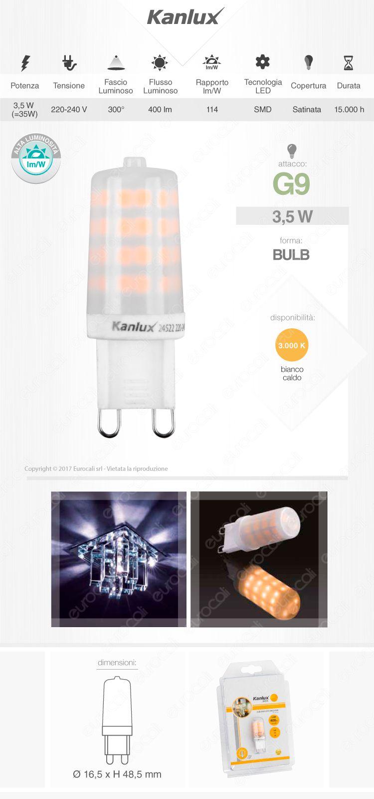 Lampadina led g9 3 5w bulb kanlux zubi for Lampadine g9 led