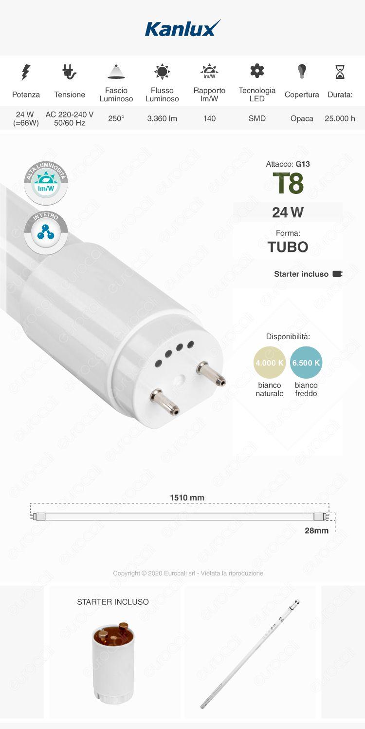 Kanlux Tubo LED T8 G13 24W in Vetro Lampadina 150cm