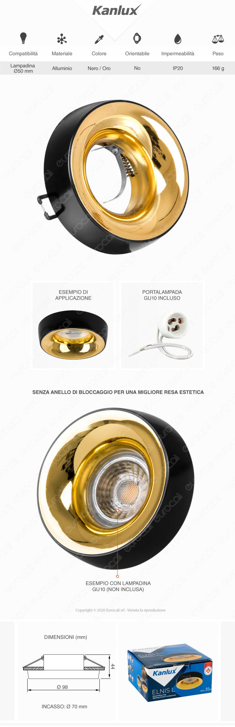 Kanlux ELNIS L Portafaretto Rotondo da Incasso Colore Nero e Oro per Lampadine GU10 e GU5.3