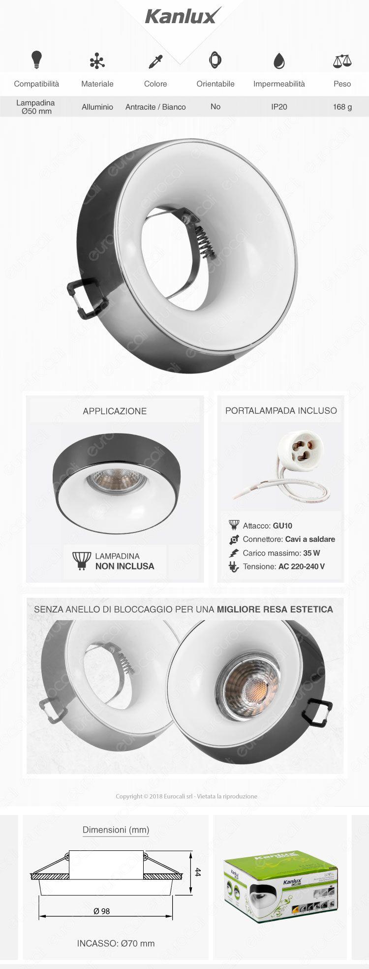 Kanlux ELNIS L Portafaretto Rotondo da Incasso Colore Antracite e Bianco per Lampadine GU10 e GU5.3