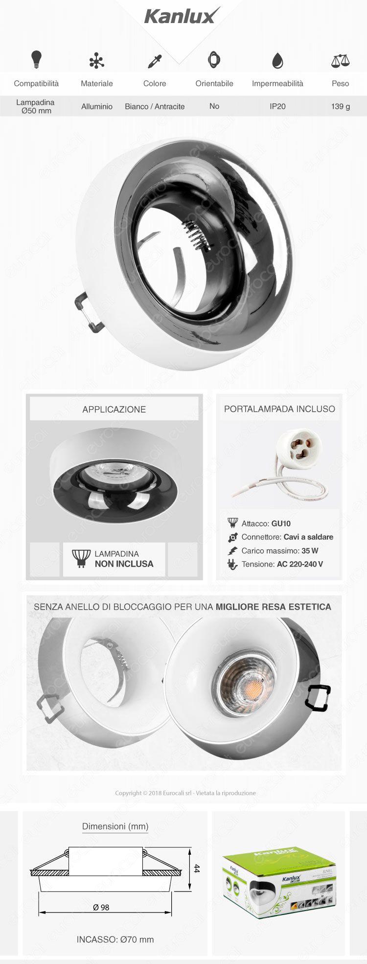 Kanlux ELNIS L Portafaretto Rotondo da Incasso Colore Bianco e Antracite per Lampadine GU10 e GU5.3