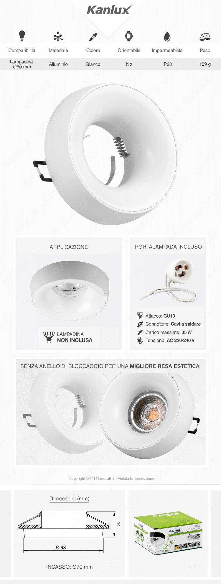 Kanlux ELNIS L Portafaretto Rotondo da Incasso Colore Bianco per Lampadine GU10 e GU5.3