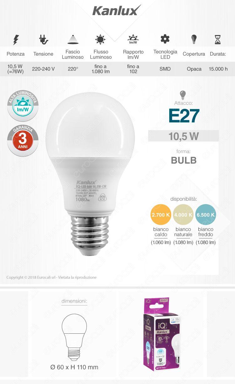 Lampadina LED E27 10,5W Bulb A60 Kanlux IQ