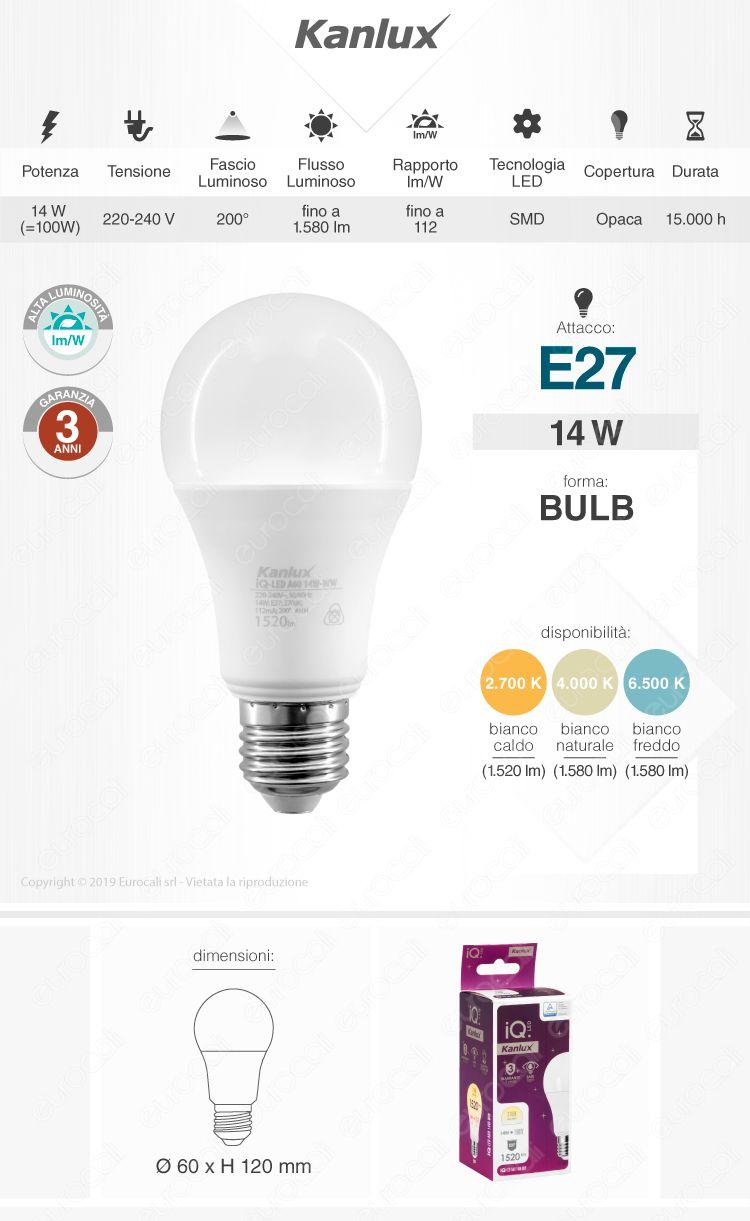 Kanlux IQ Lampadina LED E27 14W Bulb A60