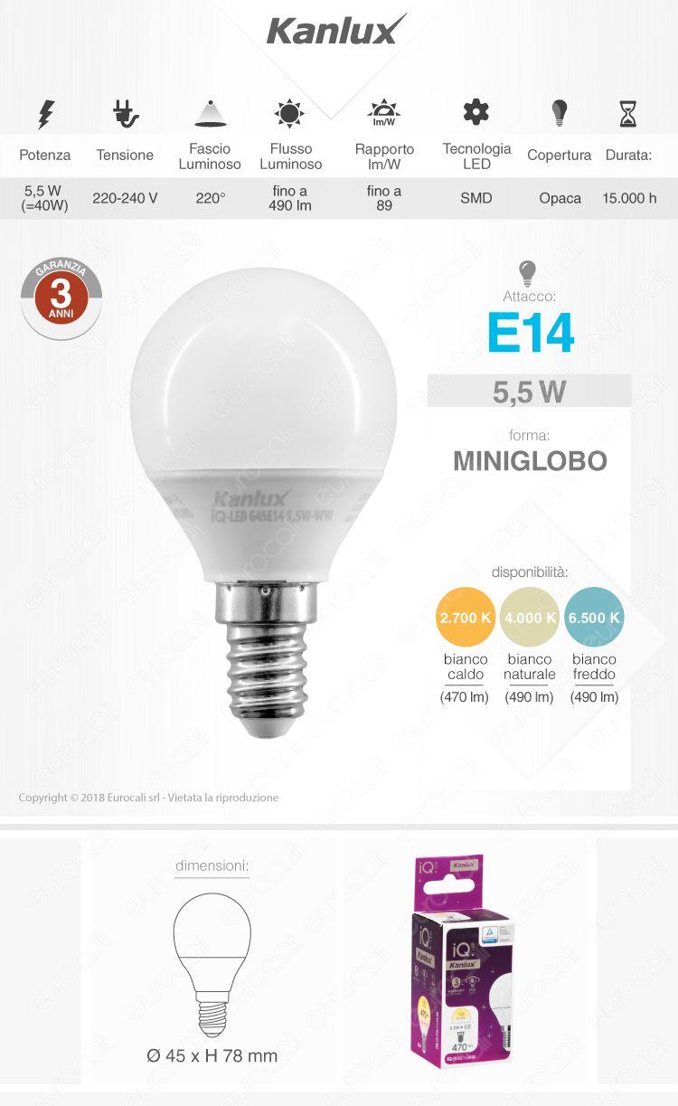 Kanlux IQ Lampadina LED E14 5,5W MiniGlobo P45