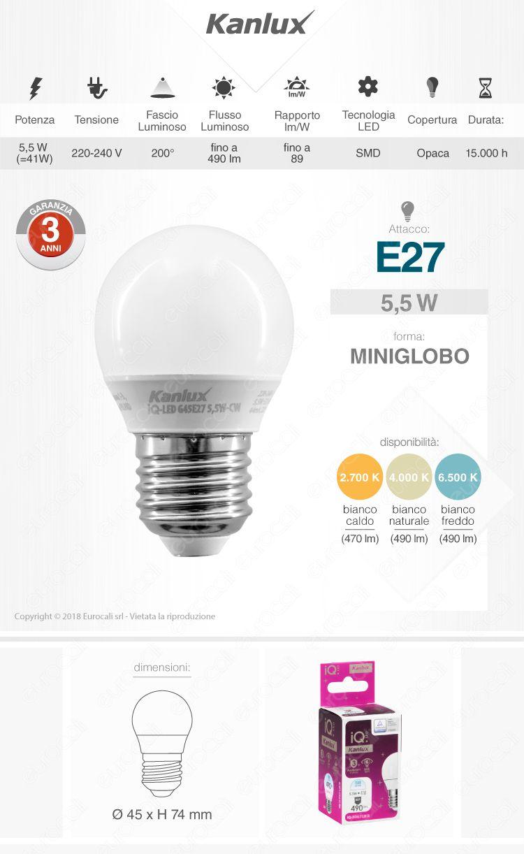 Lampadina LED E27 5,5W MiniGlobo G45 Kanlux IQ