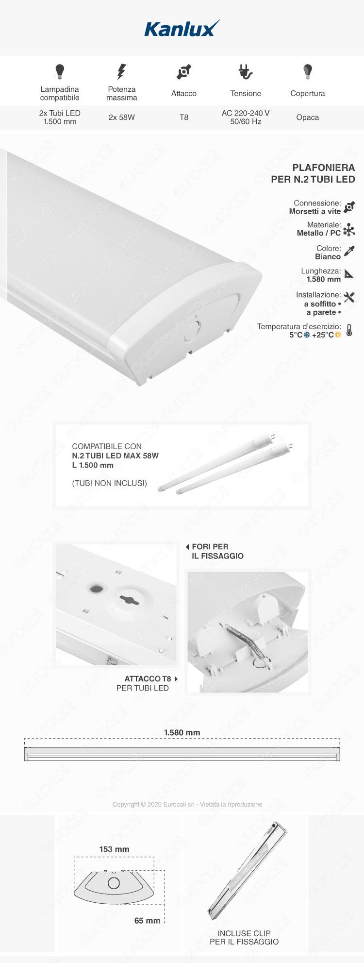Kanlux MEBA 4LED Plafoniera Doppia per 2 Tubi LED T8 da 150cm