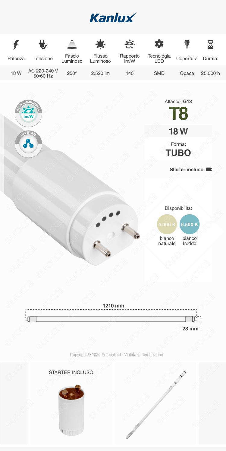 Kanlux Tubo LED T8 G13 24W in Vetro Lampadina 120cm