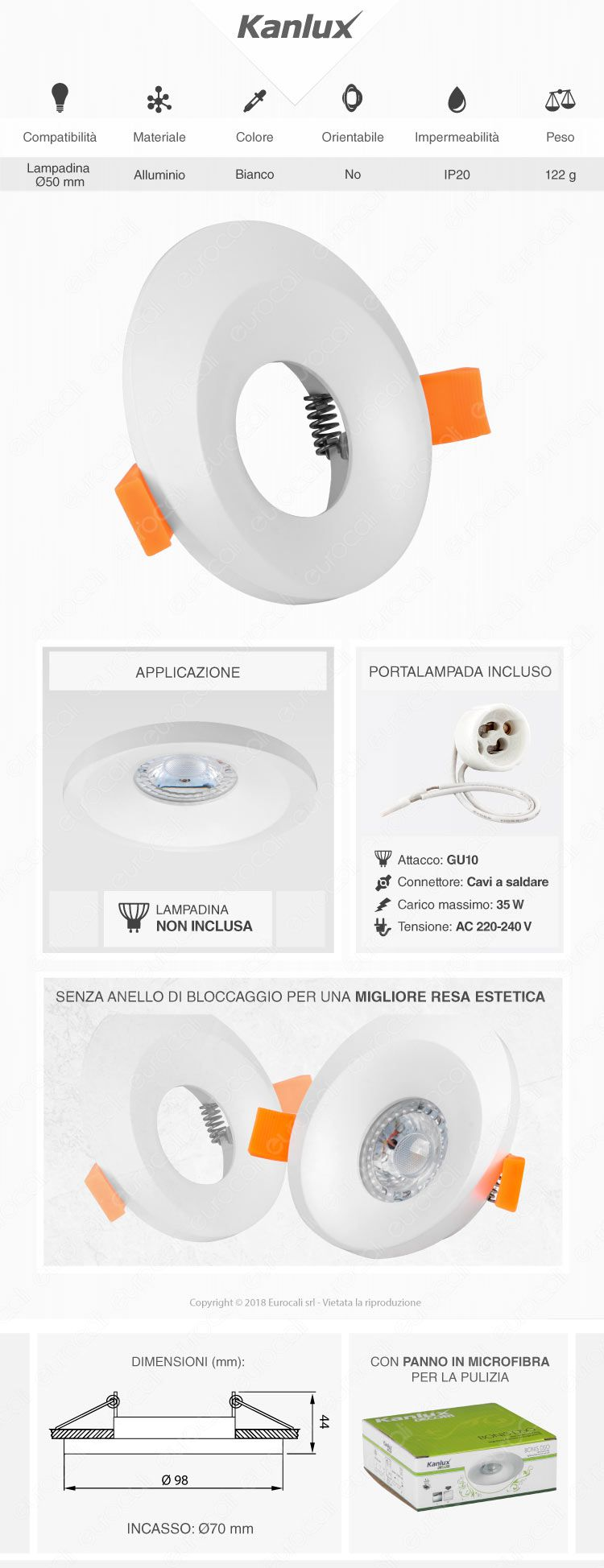 Kanlux BONIS DSO Portafaretto Rotondo da Incasso Colore Bianco per Lampadine GU10 e GU5.3