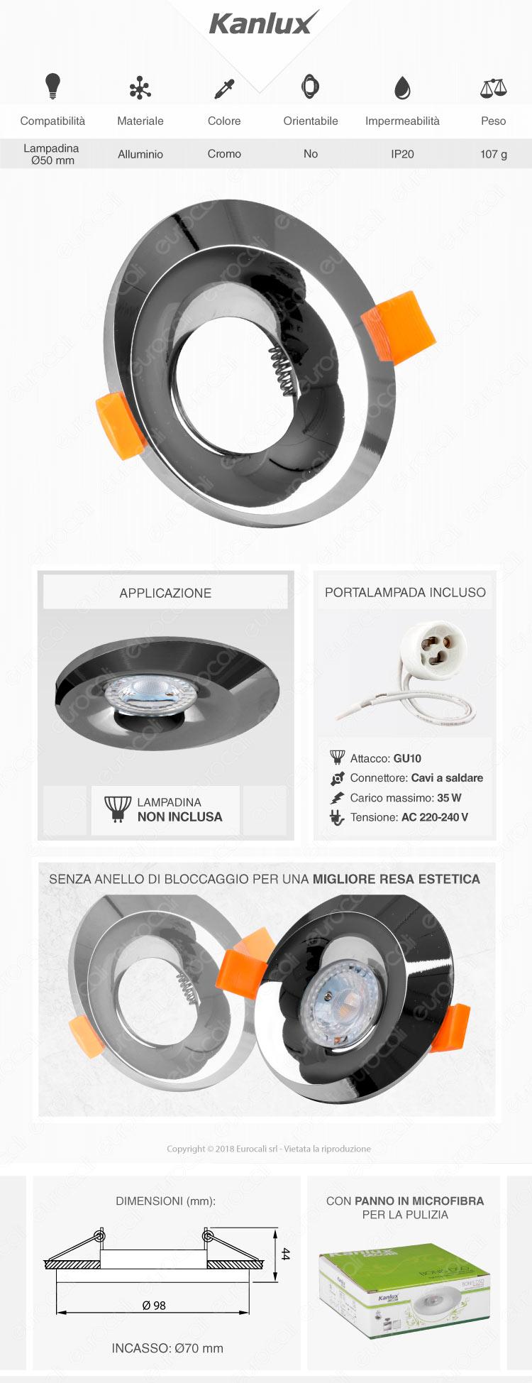 Kanlux BONIS DSO Portafaretto Rotondo da Incasso Colore Cromo per Lampadine GU10 e GU5.3