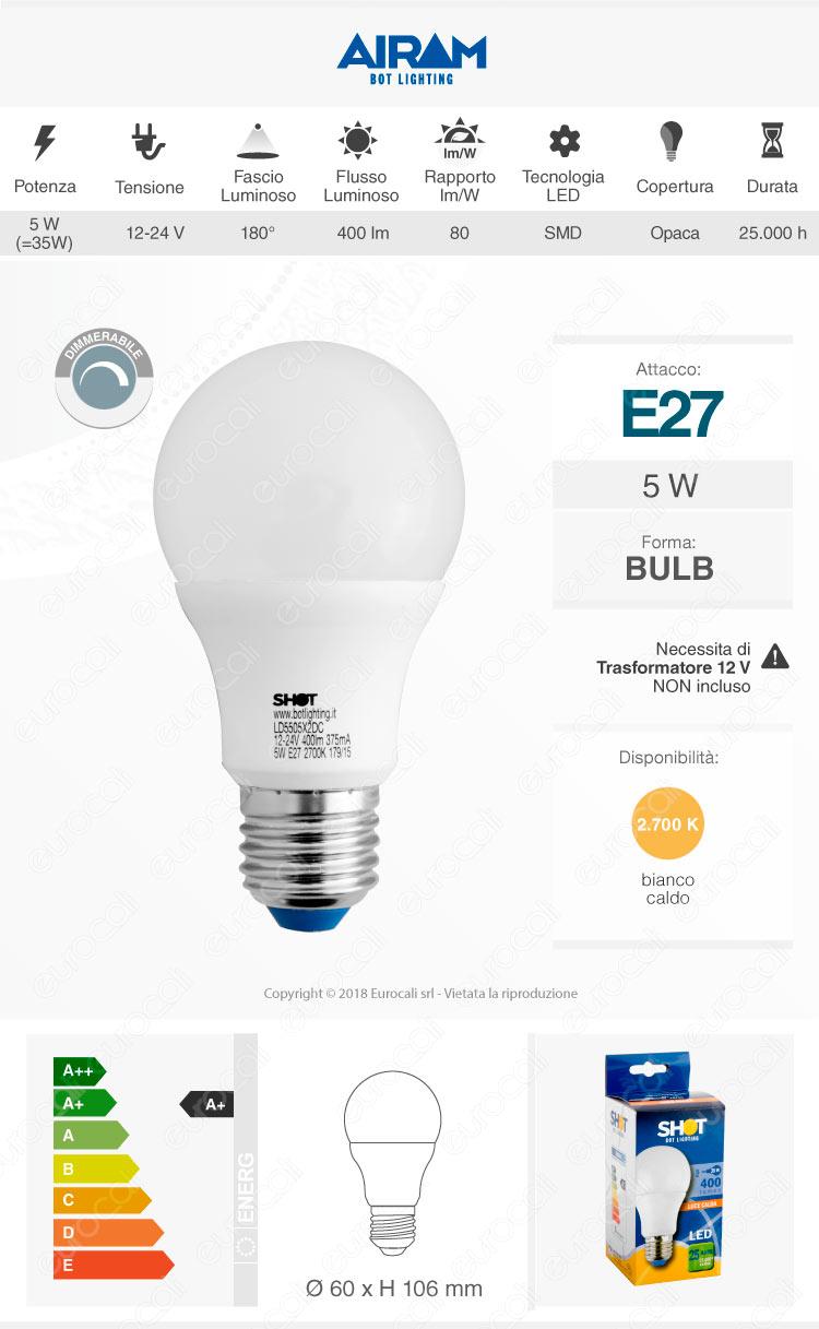 Shot Bot Lighting e27 lampadina LED