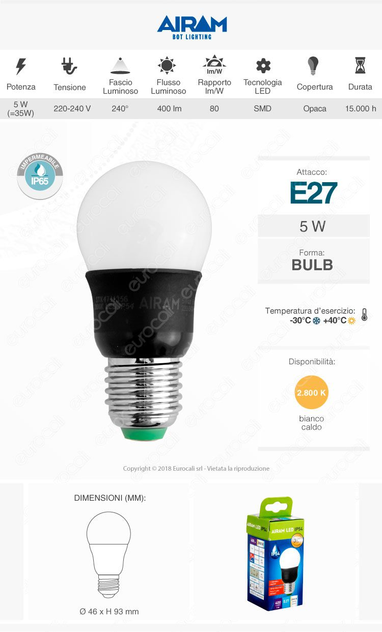 lampadina led bot lighting ip54 impermeabile