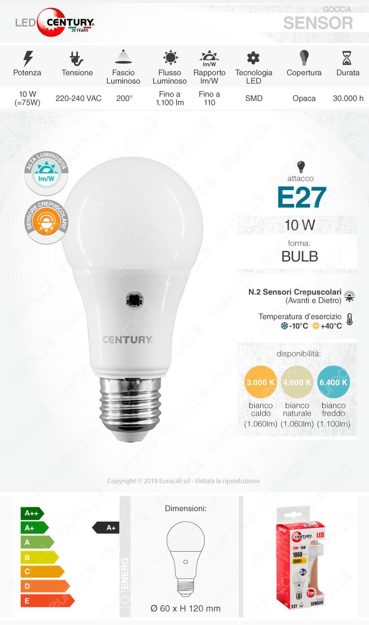 Century Lampadina LED E27 sensore