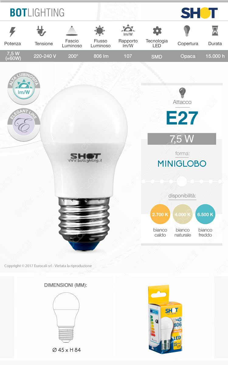 Bot Lighting lampadina LED E27