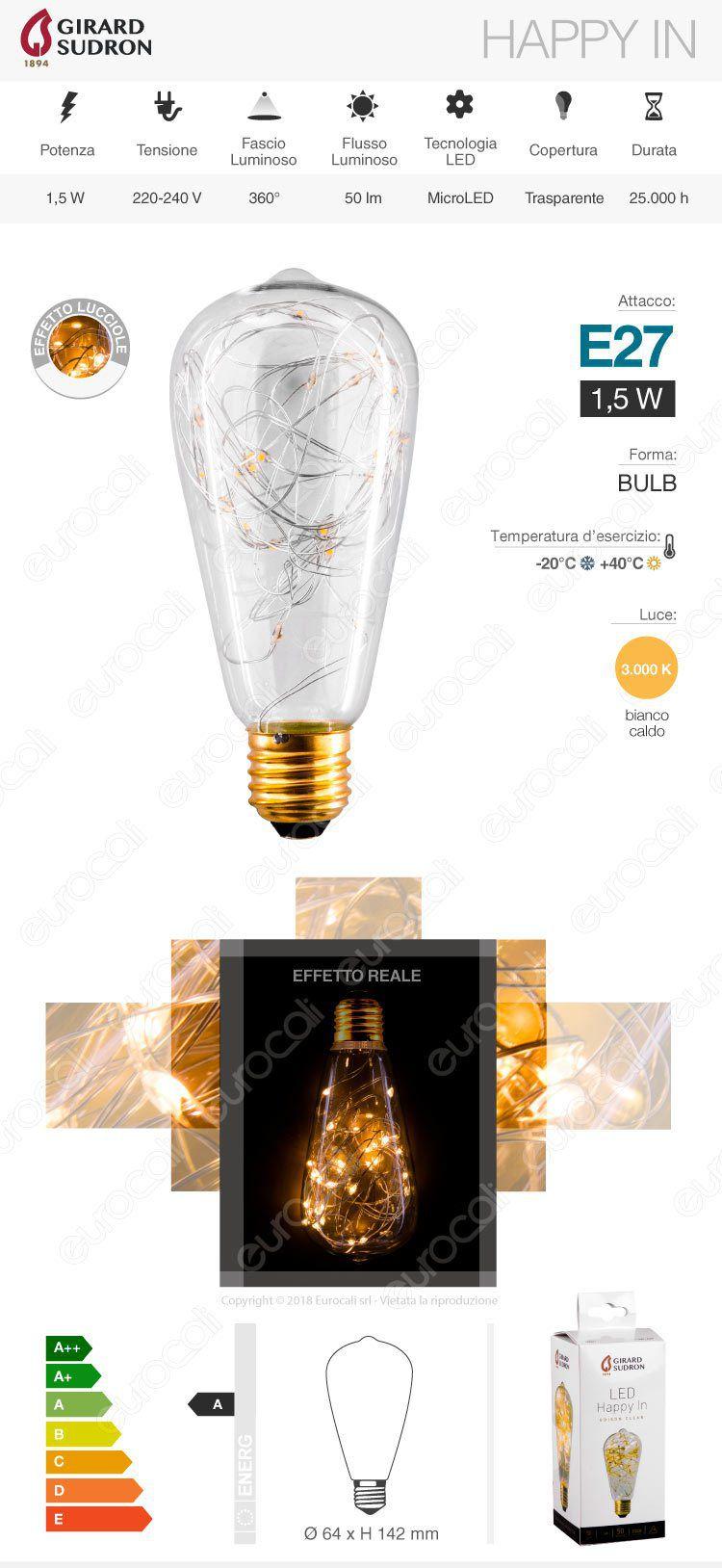 lampada led e27 girard sudron filamento led