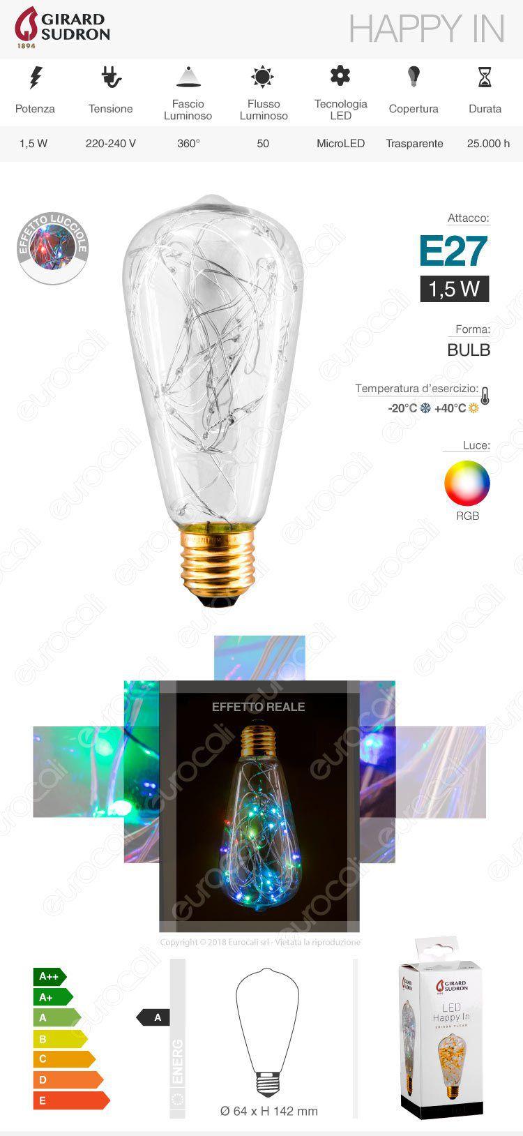 lampada led e27 girard sudron filo microled rgb