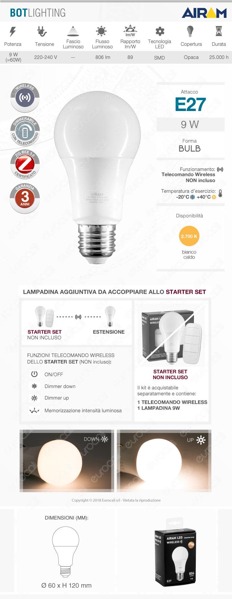 bot lighting airam e27 dimmerabile wireless