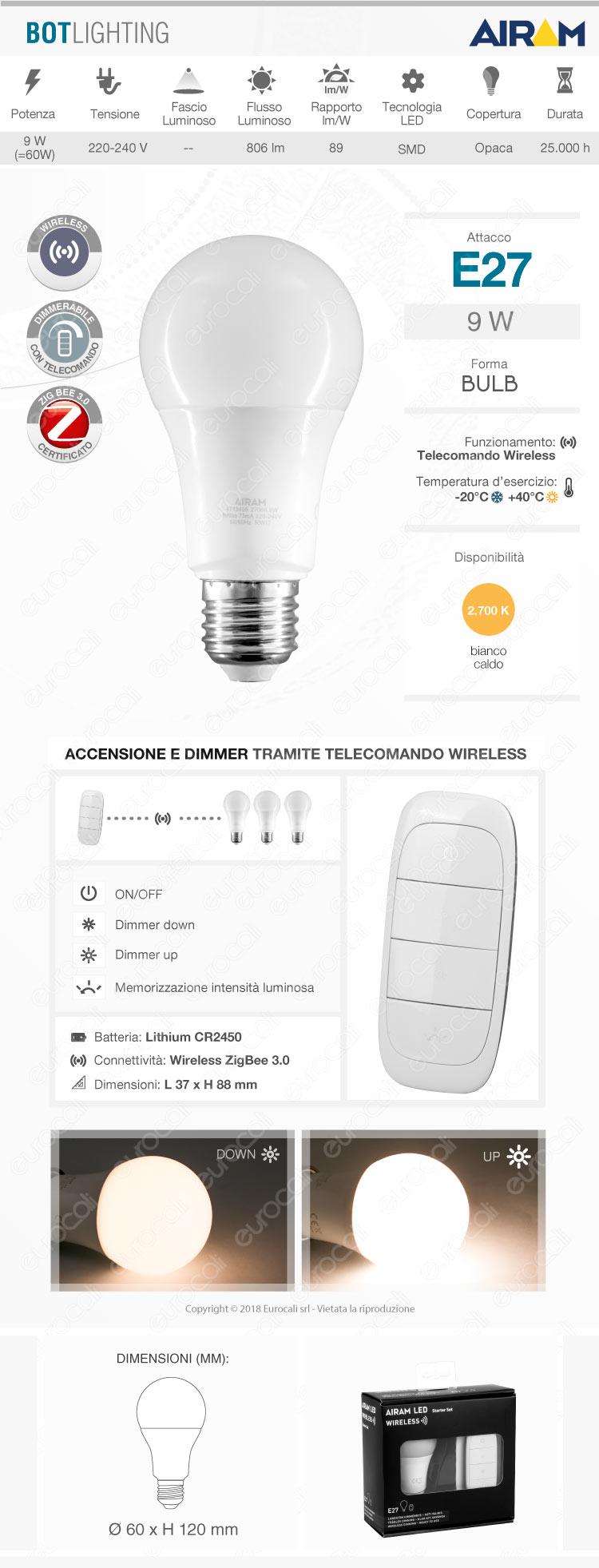 bot lighting airam starter set e27 dimmerabile