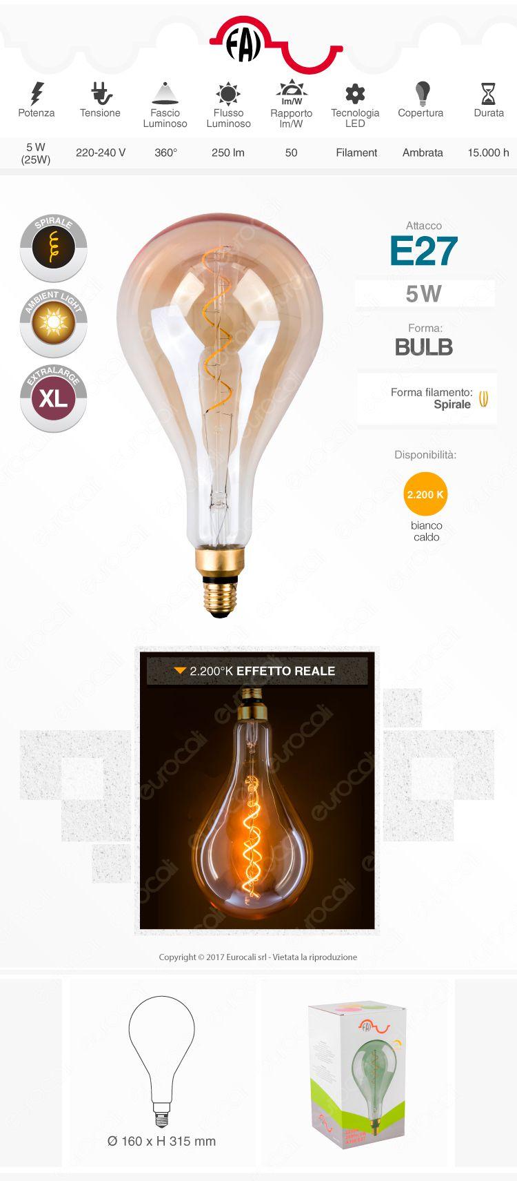 Lampadina E27 Filamento LED a Spirale FAI 5W Bulb A160 con Vetro Ambrato