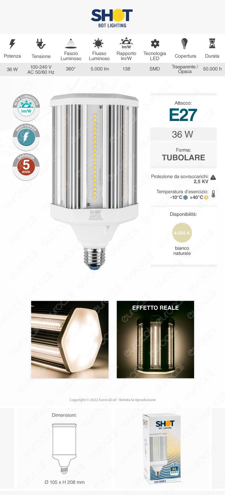 Lampadina LED E27 50W High Power Tubolare Bot Lighting