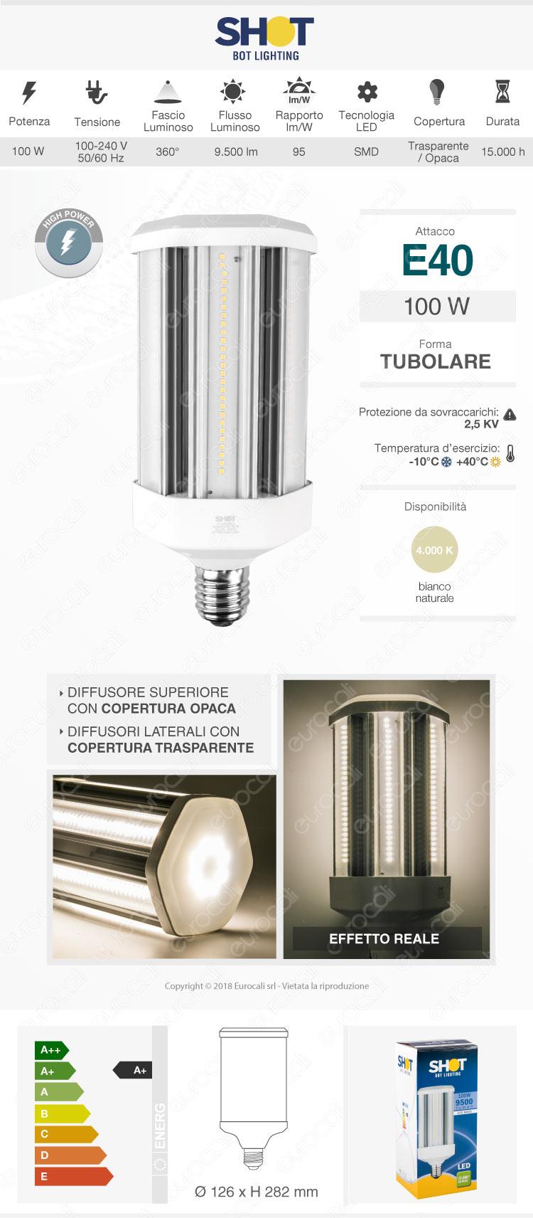 Lampadina LED E40 100W High Power Tubolare Bot Lighting L